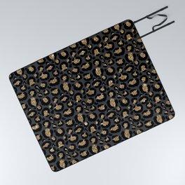 Black Gold Leopard Print Pattern Picnic Blanket