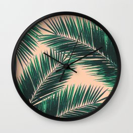 Tropical Palm Leaf Pattern 4 - Tropical Wall Art - Summer Vibes - Modern, Minimal - Green, Peach Wall Clock