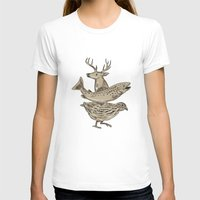trout T-shirts featuring Deer Trout Quail Drawing by patrimonio