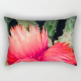 Vibrant Red Cactus Flowers Rectangular Pillow