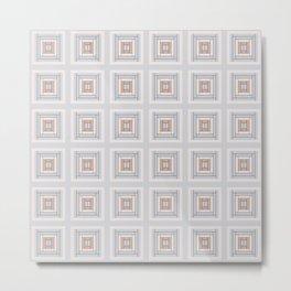 Modern Life Pattern Blue Grey Rust Metal Print