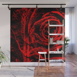 Red and Black Abstract Rose Wall Mural