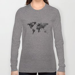 World map, Black and white world map Long Sleeve T-shirt