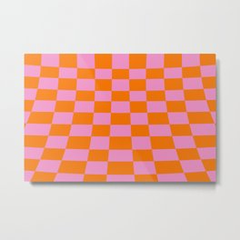 Warped perspective coloured checker board effect grid illustration orange and pink Metal Print