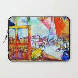 'Paris Through the Window - Eiffel Tower, Seine, & Left Bank' landscape painting by Marc Chagall Laptop Sleeve