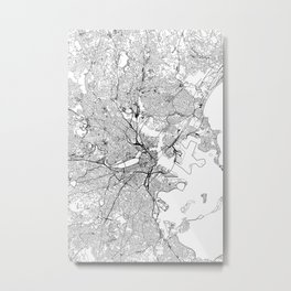 Boston White Map Metal Print