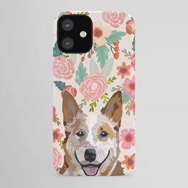 Australian Cattle Dog red heeler floral pet portrait art print and dog gifts iPhone Case