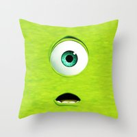 monster inc Throw Pillows featuring Monster Inc Mike by Veylow