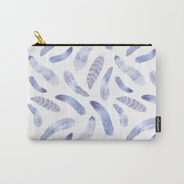 Purple  and White Boho Feathers Carry-All Pouch