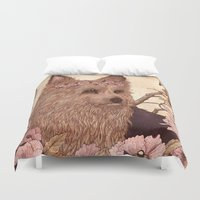 yorkie Duvet Covers featuring Yorkie by Angela Rizza