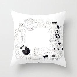 cute cat doodles circle #2 Throw Pillow