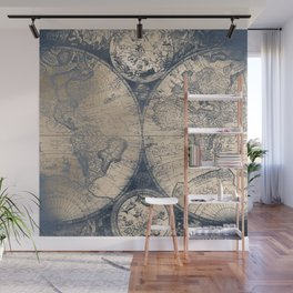 Antique World Map White Gold Navy Blue by Nature Magick Wall Mural