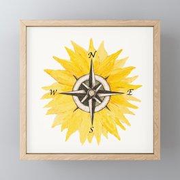 Compass  Sunflower Framed Mini Art Print