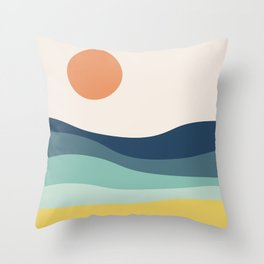 Abstract landscape with sea and sun Throw Pillow