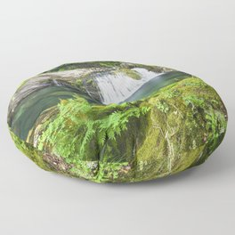 A magic lake deep in the woods Floor Pillow