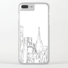 Birmingham, UK Skyline B&W - Thin Line Clear iPhone Case