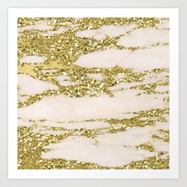 Marble - Gold Marble Glittery Light Pink and Yellow Gold Art Print