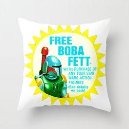 Free Boba Fett Vintage Sticker Throw Pillow