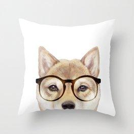 Shiba inu with glasses Dog illustration original painting print Throw Pillow
