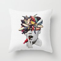 eugenia loli Throw Pillows featuring Ωmega-3 by Eugenia Loli