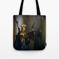 tolkien Tote Bags featuring Tolkien Warriors by Madeline Audrey