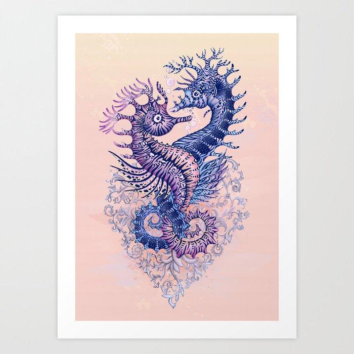 43e54eda2 Seahorse tattoo Art Print by rutadumalakaite | Society6