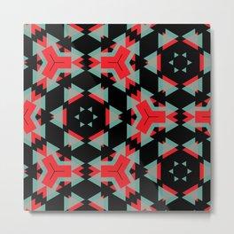 Red Grey Black Triangle Pattern Metal Print