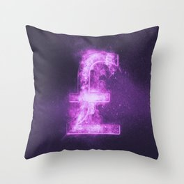 Pound sterling sign, Pound sterling Symbol. Monetary currency symbol. Abstract night sky background. Throw Pillow