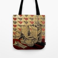 whiskey Tote Bags featuring Tea & Whiskey by Ela Caglar