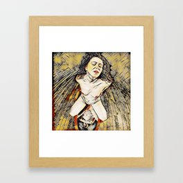6151s-KD Red Lips in Mirror Erotic Art in the style of Wassily Kandinsky Framed Art Print