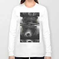 glitch Long Sleeve T-shirts featuring Bear Glitch by Cedric S Touati