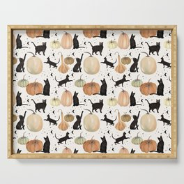 Black Cats Pumpkin Patch Fall Halloween Pattern Serving Tray