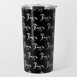 Horse Trot on Black Travel Mug
