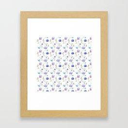 Blue watercolor flowers Framed Art Print