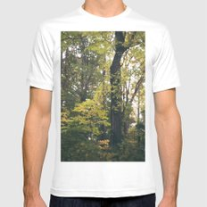 Autumn Forest White Mens Fitted Tee MEDIUM