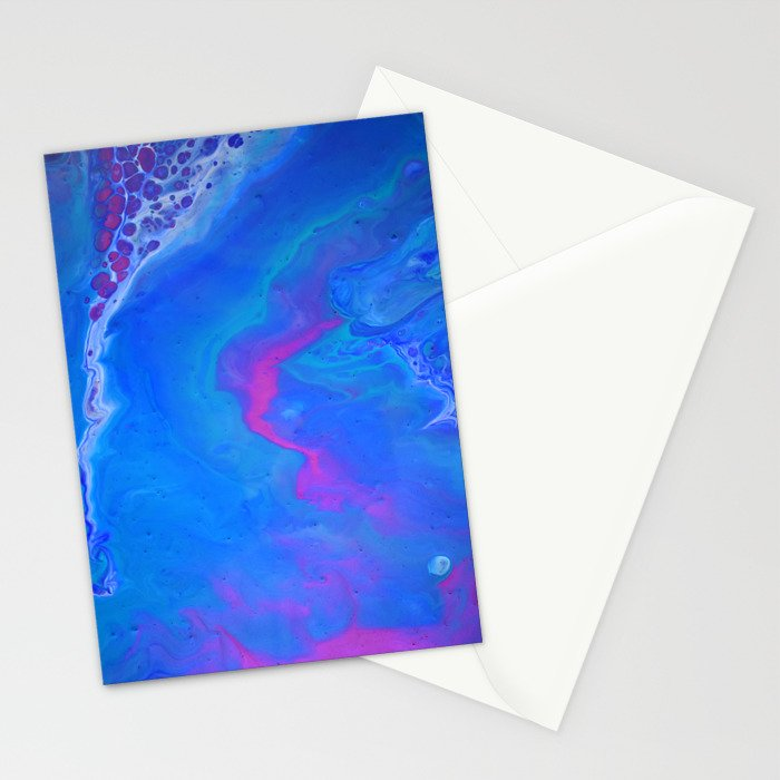 Fantasy II - Bright Sapphire Blue Ultra Violet Purple Fluid Abstract Stationery Cards