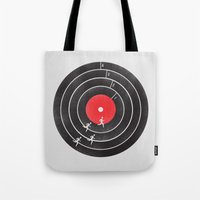 running Tote Bags featuring Vinyl Running by Mateus Quandt