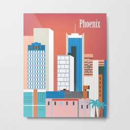 Phoenix, Arizona - Skyline Illustration by Loose Petals Metal Print