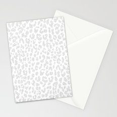 Pale Gray Leopard Stationery Cards