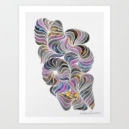 Pinwheels and Ponytails - Black and White Splatter Art Print