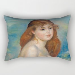 """Auguste Renoir """"Après le bain (Petite Baigneuse)"""" Rectangular Pillow"""