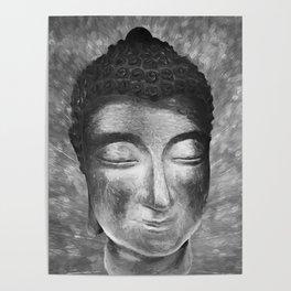 Silver buddha head by Brian Vegas Poster