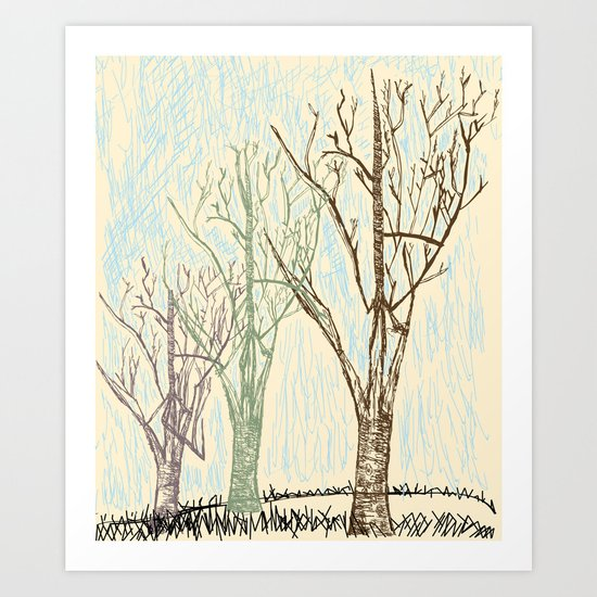 A Winters Sketch Art Print