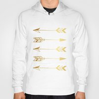 gold foil Hoodies featuring Faux gold foil arrows by Jaclyn Rose Design