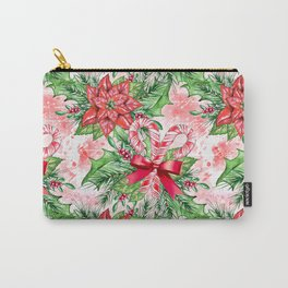 Poinsettia & Candy cane Carry-All Pouch