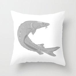 Lake Sturgeon Swimming Up Drawing Throw Pillow