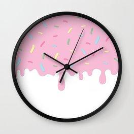 Donut Glaze, Frosting, Sprinkles - Pink Blue Green Wall Clock