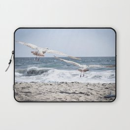 Seagulls in Flight Modern and Vintage Beach Aesthetic Photography of Seagull Birds Flying in Sky Laptop Sleeve