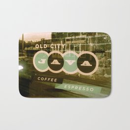Old City Java Sign in Mint Bath Mat