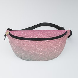 Modern neon pink teal faux glitter ombre patern Fanny Pack